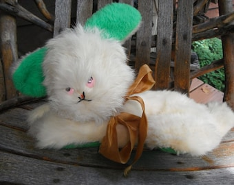 Vintage Plush Bunny Rabbit - Rabbit Fur - Green Ears - Cute