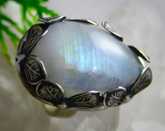 Moonstone Ring Statement Ring Sterling Silver Ring Gemstone Ring