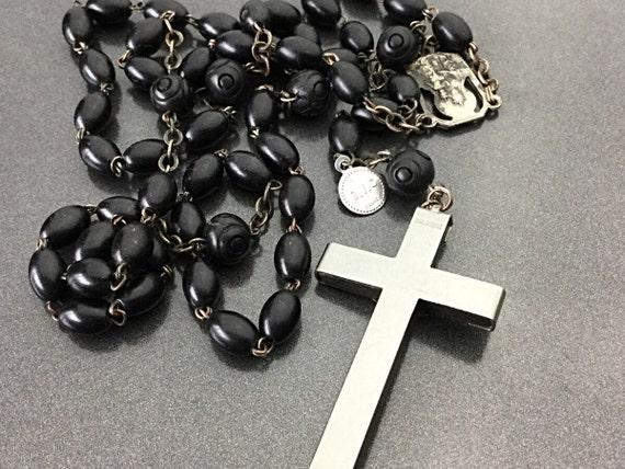 Antique Vintage French Gutta Percha Rosary, Jesus Art Deco Rosary Necklace. Religious Necklace Jewelry. Catholic. Prayer beads