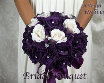 LAPIS PURPLE Wedding Bouquet Bouquets Love Package Silk Flowers Arrangement Bouquets Custom Corsage Boutonnieres Groom Bridesmaids Keepsake