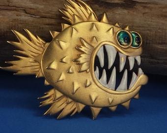Vintage Hallmarked JJ  Snarling Fish Brooch
