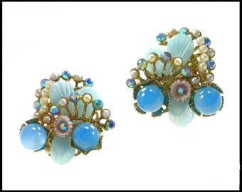 Blue AB Rhinestone & Pearl Earrings, Aurora Borealis, Blue Moonglow, Blue Lucite, Ear Climbers, Blue Earrings, 1960 Chunky, Gift For Her