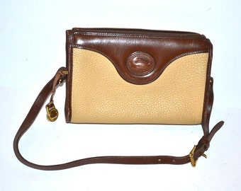 80s vintage authentic Dooney and Bourke Bag leather  purse crossbody messenger bag cream and brown