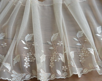 ivory lace trim with leaf floral embroidery 2 yards