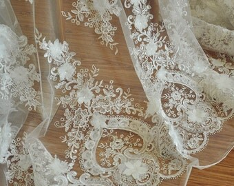 Wedding Dress Lace Fabric for HAUTE COUTURE  , Ivory 3D Flower Embroidery Lace Fabric - Lolita