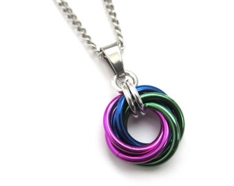 Chainmail pendant necklace; green, violet, and blue love knot pendant for women, peacock color jewelry