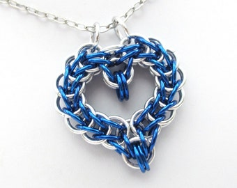 Chainmail heart pendant, blue heart pendant, chainmail jewelry, heart necklace