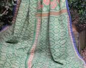 Green Kantha ,Sari throw, Sari Blanket, Light Green Kantha Blanket,  Kantha Throw, Indian Quilt, Coverlet,Brocade Kantha