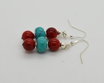 Turquoise And Red Coral Sterling Silver Earrings 02