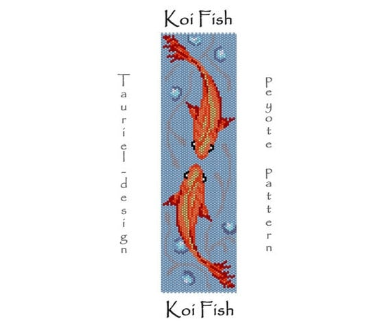 Koi fish ii peyote bracelet pattern pdf diy for Koi fish color meaning chart