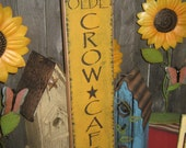 "Primitive wood Lg sign 30"" hand painted "" Olde CROW CAFE "" Seed sign country folkart wall Housewares Decor"