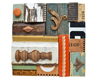 wood wall art, vintage sign letters, wood collage, architectural salvage, mixed media assemblage, ORIGINAL ART  by Elizabeth Rosen