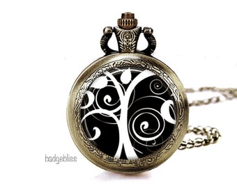Pocket watch necklace, Black and White Tree pocket watch necklace