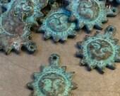 Mykonos Sun Charm 16mm X 20mm Green Patina QTY 2