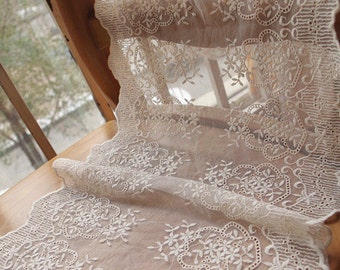 ivory lace fabric for table runners, cotton embroidered lace trim