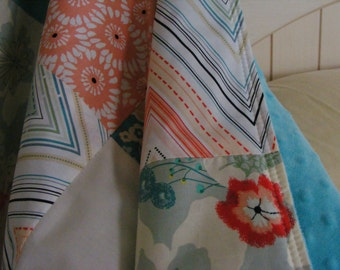 Floral Baby Blanket / baby bedding / Nursery Blanket / coral mint floral blanket / patchwork blanket