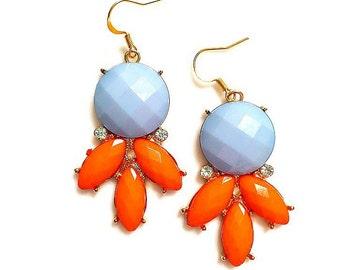 SALE Sunrise Earrings Orange & Baby Blue Vintage Statement