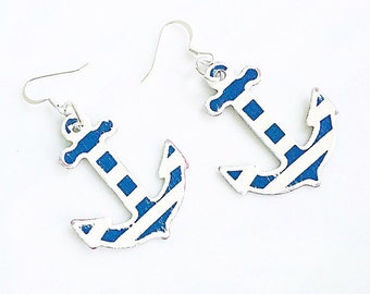 Anchor Earrings Nautical Summer Earrings Navy and White Stripe Preppy Free Shipping