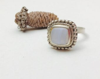 Moonstone Ring Size 5, Sterling Silver, Vintage Square Stone, Pre Holiday SALE, Item No. S385