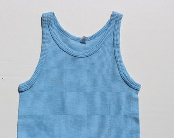 Vintage Light  Blue Vest Top - Skinny Fitted Vest Mesh tank top - Stretchy - Pastel blue - XS Petite Small size