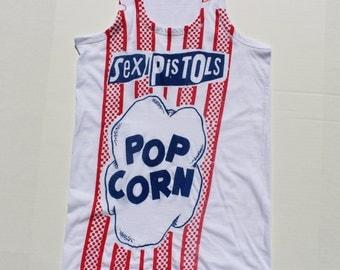 Punk Vest- Sex Pistols - POPCORN - Westwood PUnk Pop Corn sleeveless tank top -White cotton slouchy -Blue Red -Unisex Small- Large - XL Size