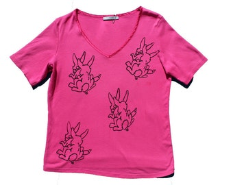 Punk Sex Bunnies Print pink tshirt -grunge T-shirt  Vivienne Westwood SEX - punk clothing  Mature-loose fit-v neck 2000s britney
