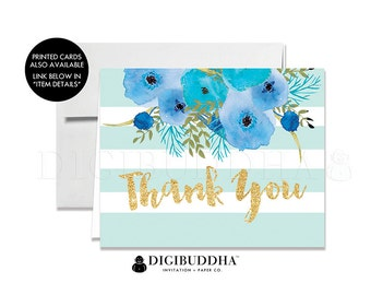 THANK YOU CARDS Folded A2 Thank You Card Note Wedding Thank You Bridal Shower Baby Shower Thank You Instant Download Blue Striped - Mady