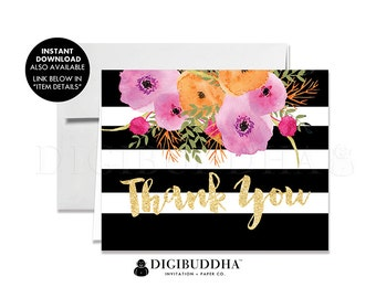 THANK YOU CARDS Folded A2 Thank You Card Note Wedding Thank You Note Card Bridal Shower Thank You Printed Baby Shower Black Striped - Mady