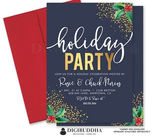 HOLIDAY PARTY INVITATION Navy Christmas Party Invitation Holly Christmas Invite Mistletoe Holiday Party Invite Printed Invitations - Rosie