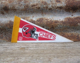 Vintage Kansas City Chiefs Football Team 1990s Era NFL Small 9 Inch Mini Felt Pennant Banner Flag vtg Collectible Vintage Display Sports