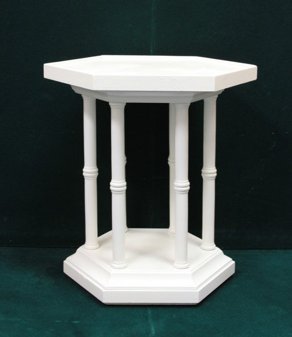 White small octagon side end table