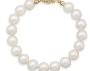 8 inch 8.5-9mm Cultured Freshwater Pearl 14 Karat Yellow Gold Bracelet