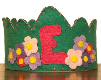 Felt Birthday Crown Girl, Green, Pink and Purple -Flowers- Customized Letter