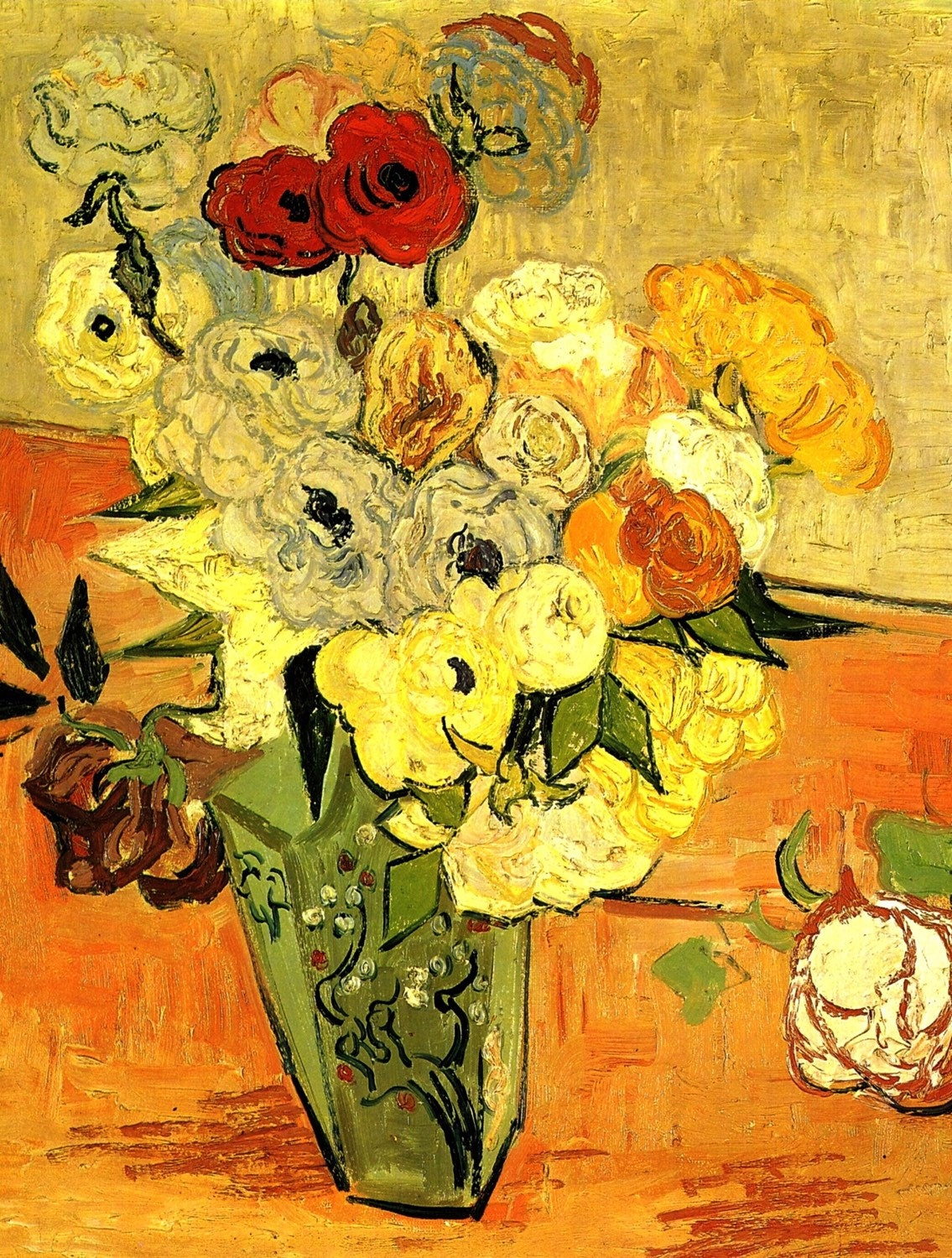 Fine Art Print By Van Gogh Of Japenese Vase With Roses And