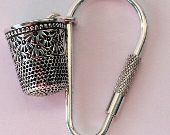 Peter Pan Thimble Jewelry Antique Palmetto Solid Sterling Silver Key Ring, Peter Pan and Wendy Hidden Kisses