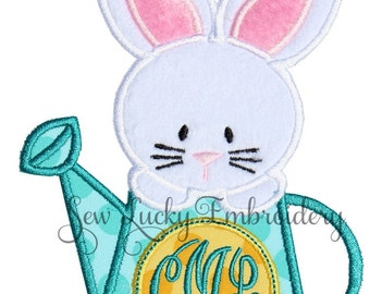 Bunny Monogram Watering Can Applique Embroidered Patch , Sew or Iron on