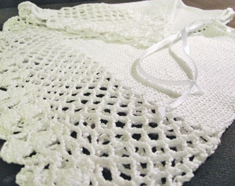 knitted christening gown, knit and crochet baptism white garment, unisex baby poncho, made to order