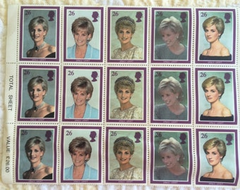 Princess Diana postage stamps from London post office following Princess Dianas death