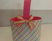 Monogrammed Fabric Easter Basket Candy Bucket Bin Storage Container - Pink Plaid