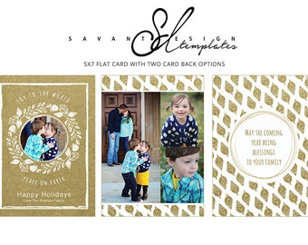 Rustic Christmas Card, Holiday Photo Template, Kraft Wreath Christmas Card, Photography Template, CC216