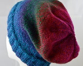 Jewel Toned, Striped Slouchy Hat, Women's Fashion Hat, Slouchy Beanie, Teen Fashion Accessory, Metallic Sparkle