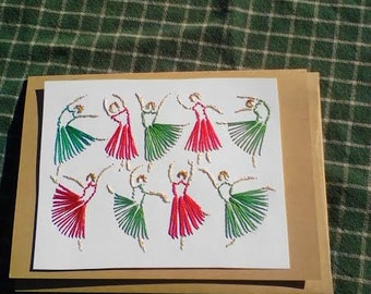 Nine Ladies Dancing, Hand Stitched Christmas Card