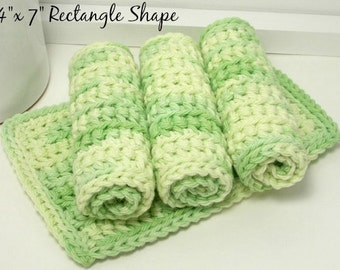 Handmade Dishcloths, Crochet Dishcloths, Set of 4, American Cotton, Spring Green, Eco Friendly Kitchen
