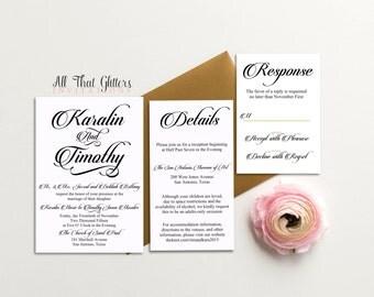 Black and Gold Wedding Invitation suite | Gold Wedding Invitations | Gold and Black Wedding Invites | Black Invitation | Basic Karalin
