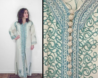 1960s Embroidered CAFTAN Hippie Tribal Dashiki Dress Turquoise and Cream