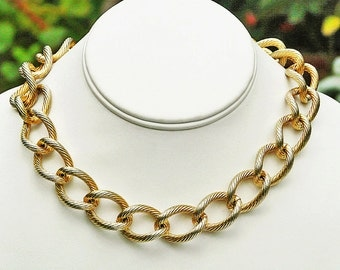 vintage Monet gold tone chunky big link chain necklace