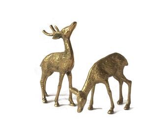 Brass Deer, Stag and Doe Pair