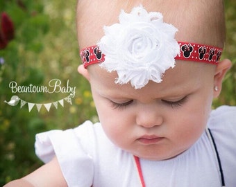 Red Minnie Mouse Headband, Red Minnie Mouse Bow, Minnie Mouse 1st Birthday Outfit, Red Minnie Headband, Minnie Baby Bow, 1st Birthday Minnie