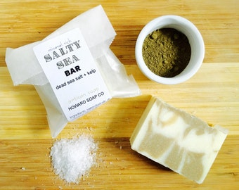 SALTY SEA BAR >> /handmade cold process soap/detox/vegan/mineral rich/dead sea salt/kelp/clean/minnesota made/