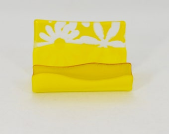Yellow Daisies Fused Glass Business Card Holder